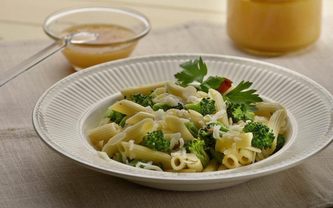 Penne rigate with broccoletti, coriander honey, ginger and ...