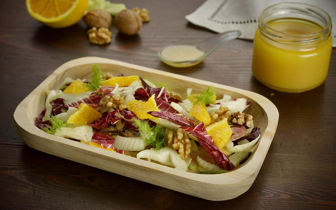 Winter salad with oranges, fennel, Treviso radicchio, walnuts and orange honey