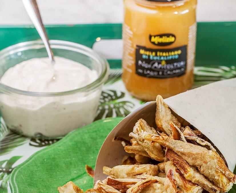 Carciofi fritti con maionese di soia e Miele di Eucalipto leggermente piccante