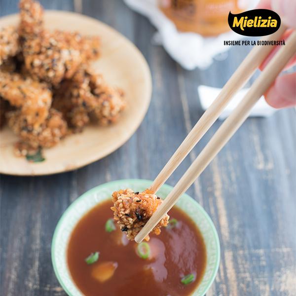 ricetta mielizia - nuggets di pollo con salsa agrodolce composta pesche