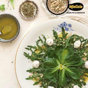 Ricetta insalata erbe provenzali caprino noci emulsione miele